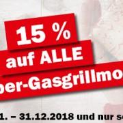 Prozentaktion Weber-Gasgrillmodelle 2018